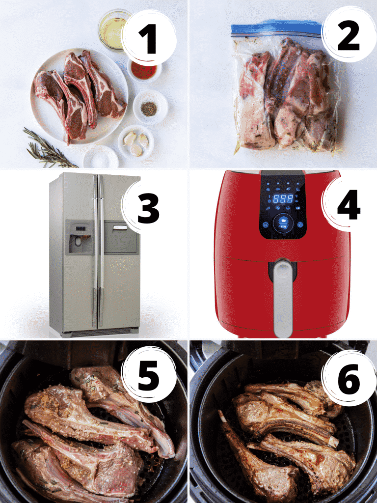 Photo collage of six steps needed to make air fryer lamb chops