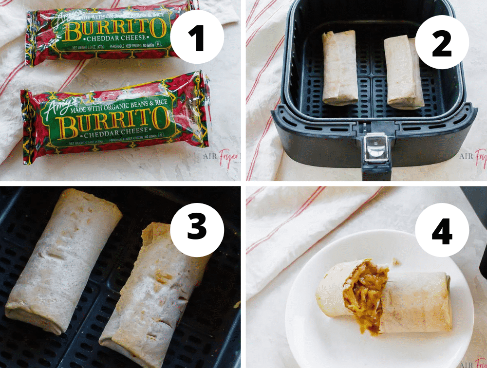 photo collage of four steps needed to make frozen air fryer burritos