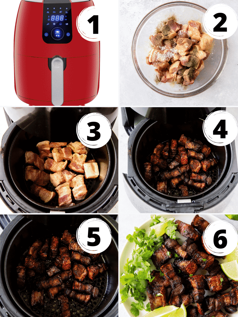 Photo collage of 6 steps to make air fryer pork belly