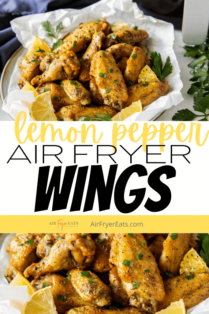 air fryer lemon pepper chicken wings on a plate with a title over the image.