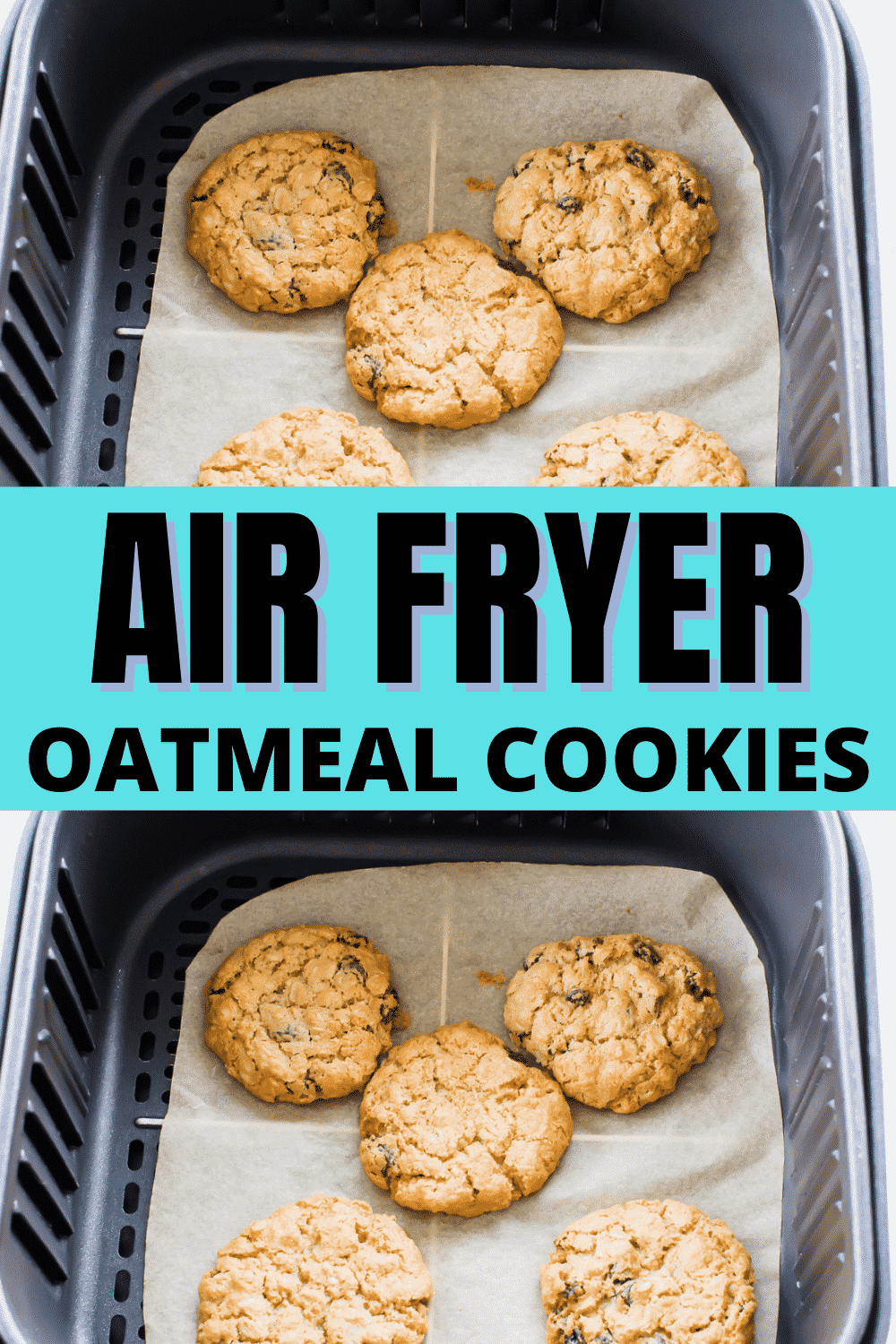 Air Fryer Oatmeal Cookies have never been easier or more delicious! These cookies are sweet, chewy, and packed with raisins. They're also vegan and gluten free, so perfect to serve to any crowd. #airfryercookies via @vegetarianmamma