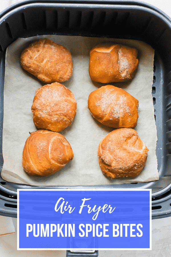You are going to flip for this simple recipe that starts with a roll of crescent rolls and ends with delicious, cream filled, air fryer pumpkin spice bites. #airfryer #pumpkinspice via @vegetarianmamma