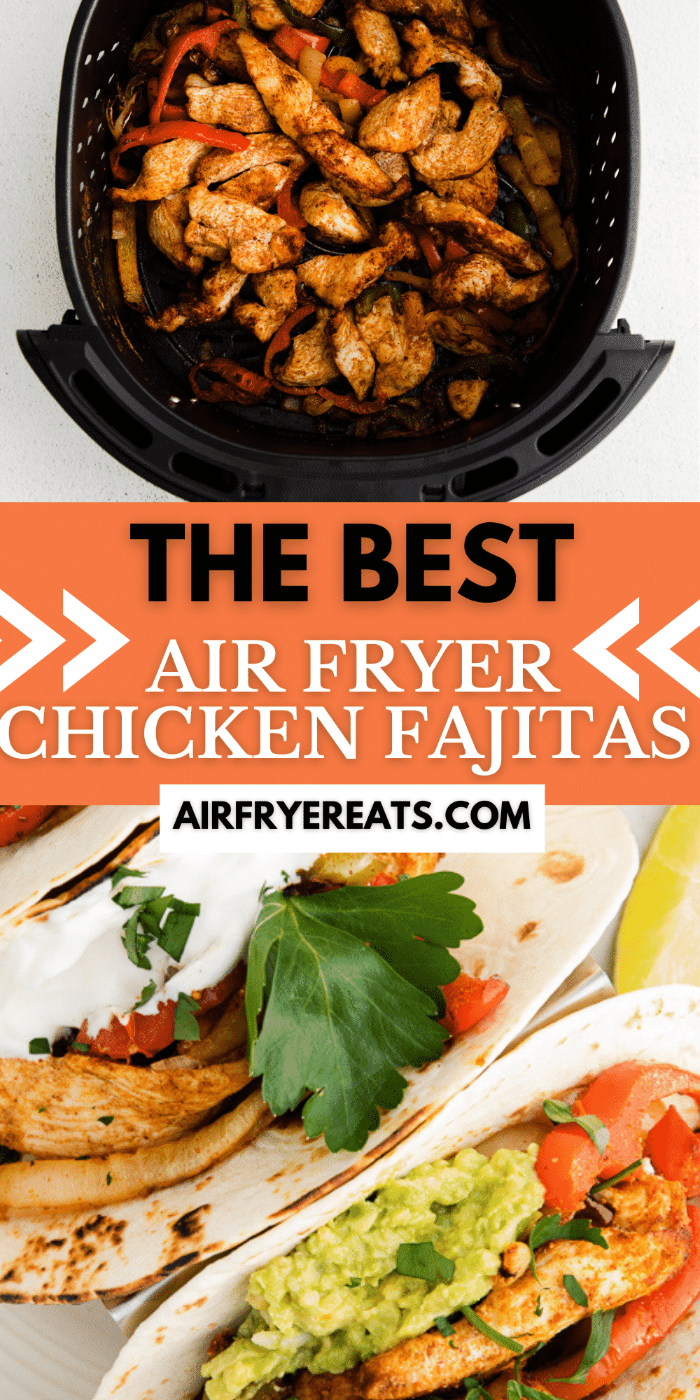 Air Fryer Chicken Fajitas are a deliciously seasoned mix of boneless chicken breast strips, peppers and onions that cook up quickly and easily, ready to fill warm tortillas for dinner. #airfryer #fajitas via @vegetarianmamma