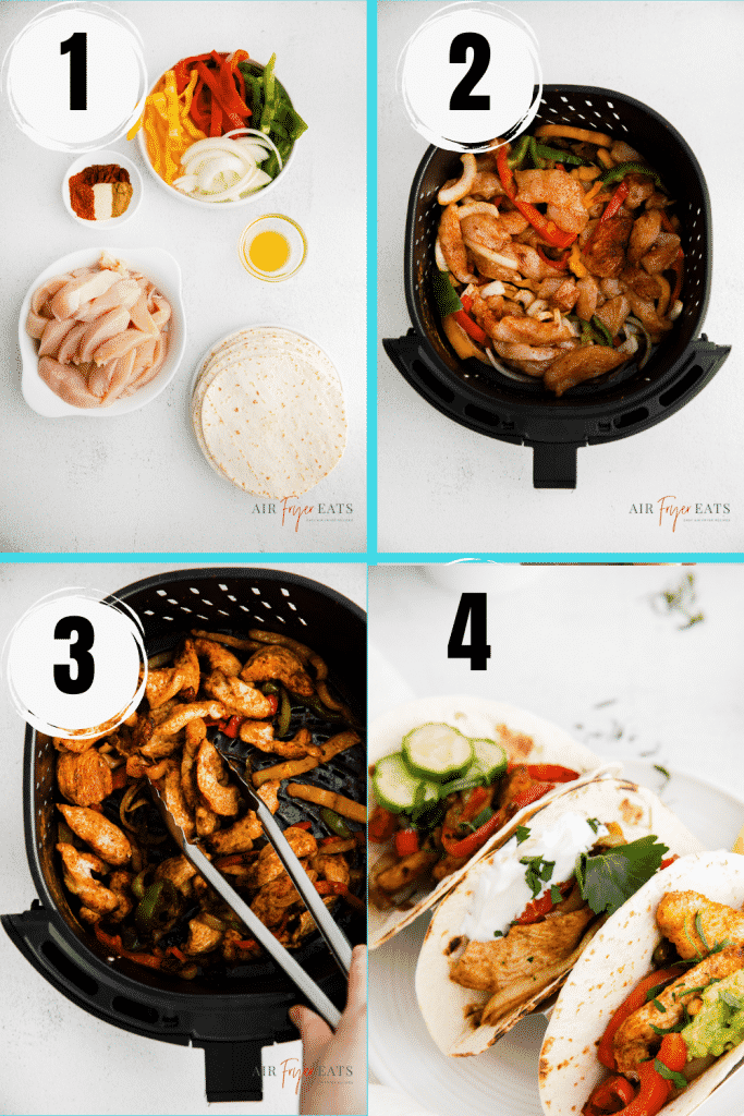 photo collage showing four steps needed to make air fryer chicken fajitas