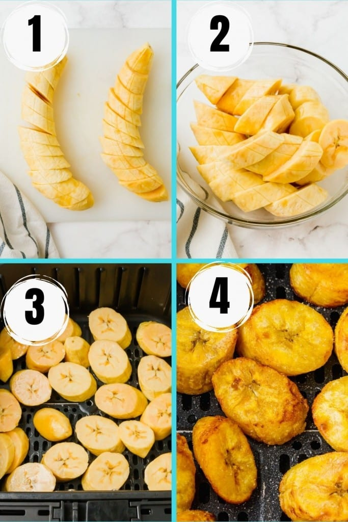 photo collage showing four steps needed to make air fryer plantains