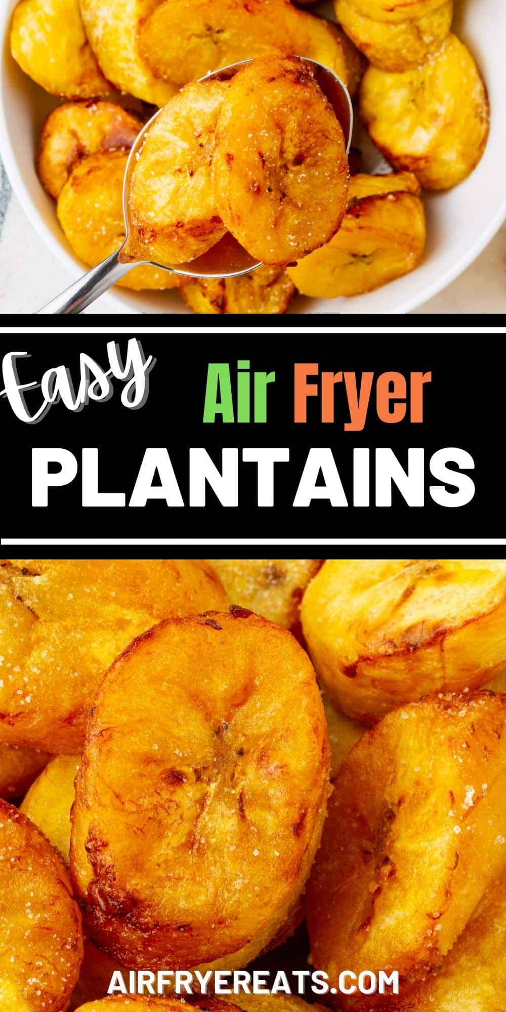 Sweet, ripe, plantains cook up quickly and easily in the air fryer to be crispy on the outside, tender on the inside, and delicious as a snack or side dish. #airfryer #plantains via @vegetarianmamma