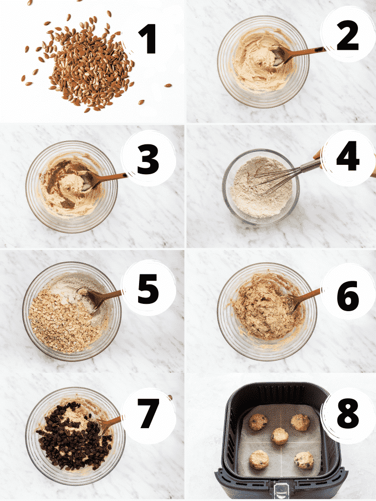 Photo Collage of 8 steps needed to make oatmeal cookies in an air fryer.