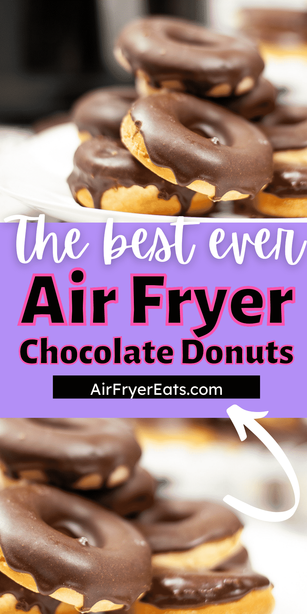 Air Fryer Chocolate Glazed Donuts are a copycat recipe of the famous Krispy Kreme donuts that everyone loves. Learn how to make yeasted donuts from scratch, in your air fryer, then top them with creamy chocolate frosting. #donuts via @vegetarianmamma