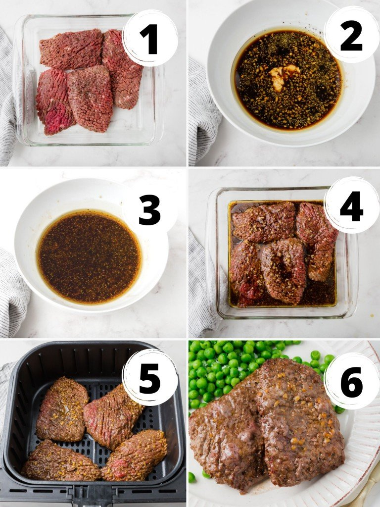 Photo collage showing six steps needed to make cube steaks in an air fryer