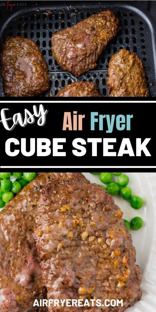 photo collage of air fryer cube steak images with text overlay