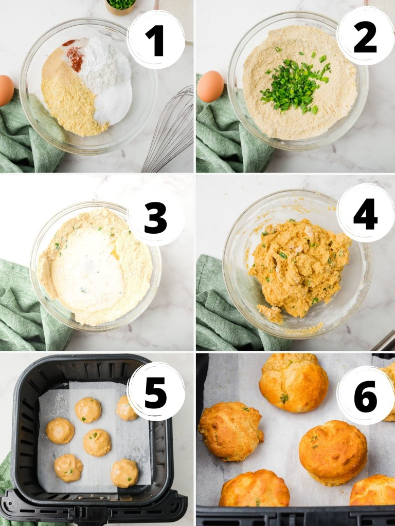 photo collage showing six steps needed to make air fryer hush puppies