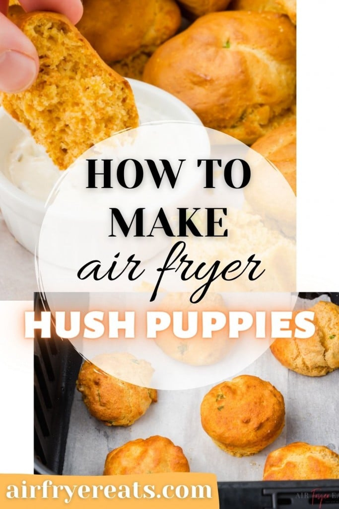 photo collage of air fryer hush puppy images with text overlay