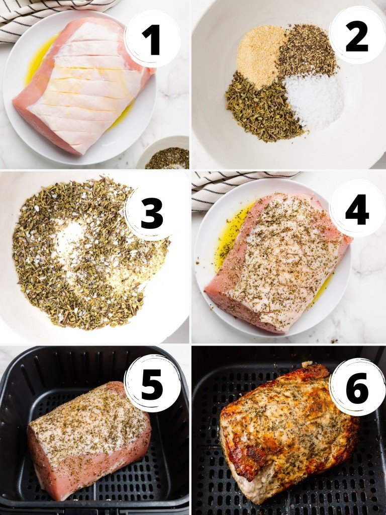 photo collage showing six steps needed to make air fryer pork roast