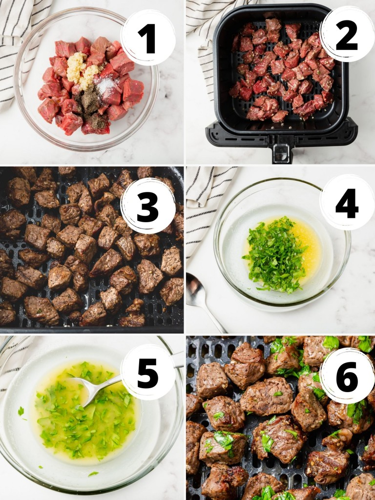 Photo Collage showing six steps needed to make air fryer steak bites