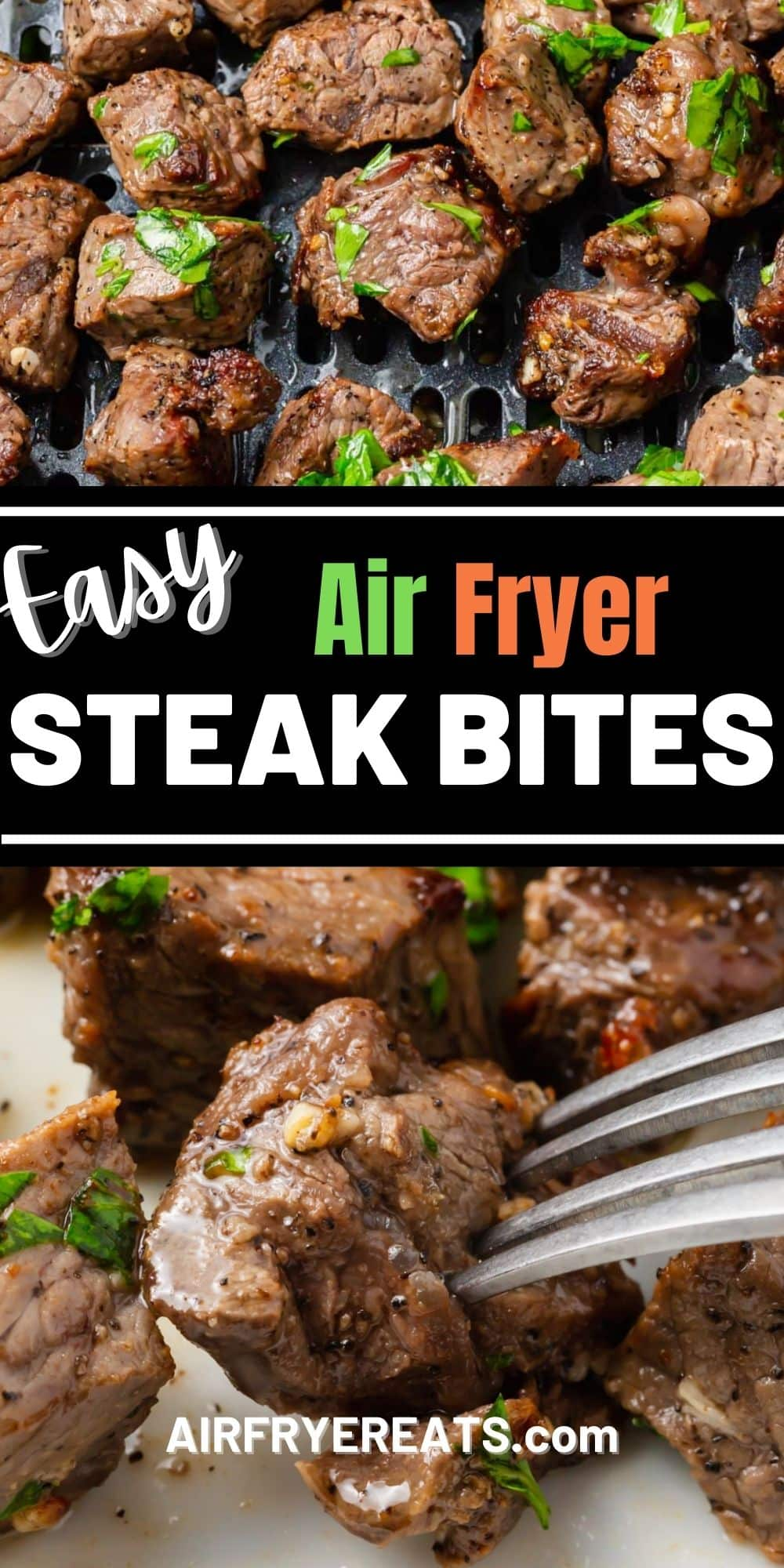 Air Fryer Steak Bites are an easy and convenient way to cook steak that is perfectly cooked and in bite sized pieces. #airfryersteak via @vegetarianmamma