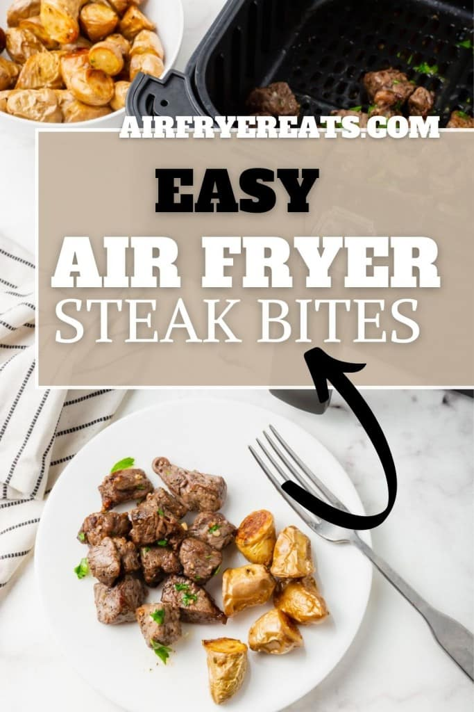 a plate of steak bites with a text overlay