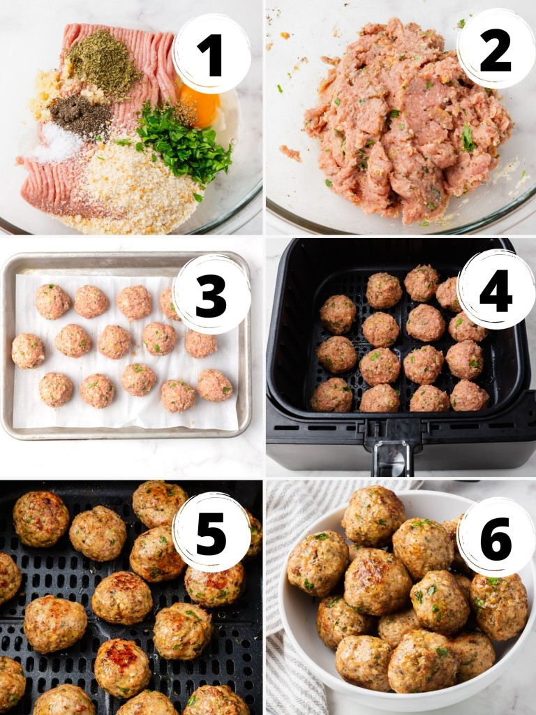 Photo Collage showing six steps needed to make air fryer turkey meatballs