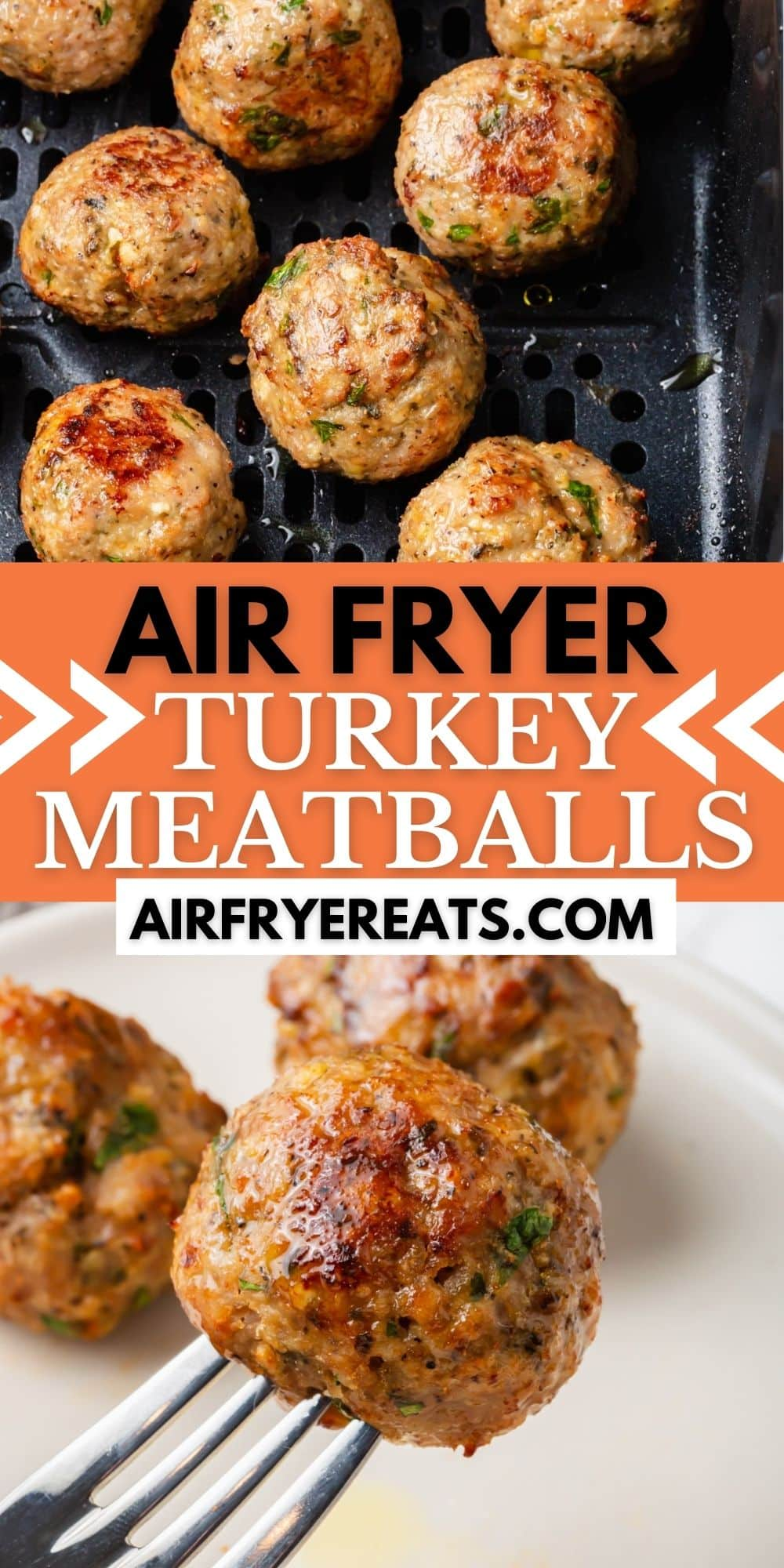 Air Fryer Turkey Meatballs are a healthier alternative to beef meatballs, packed with delicious flavor and ready in 20 minutes in the Air Fryer. #airfryer #turkeymeatballs via @vegetarianmamma