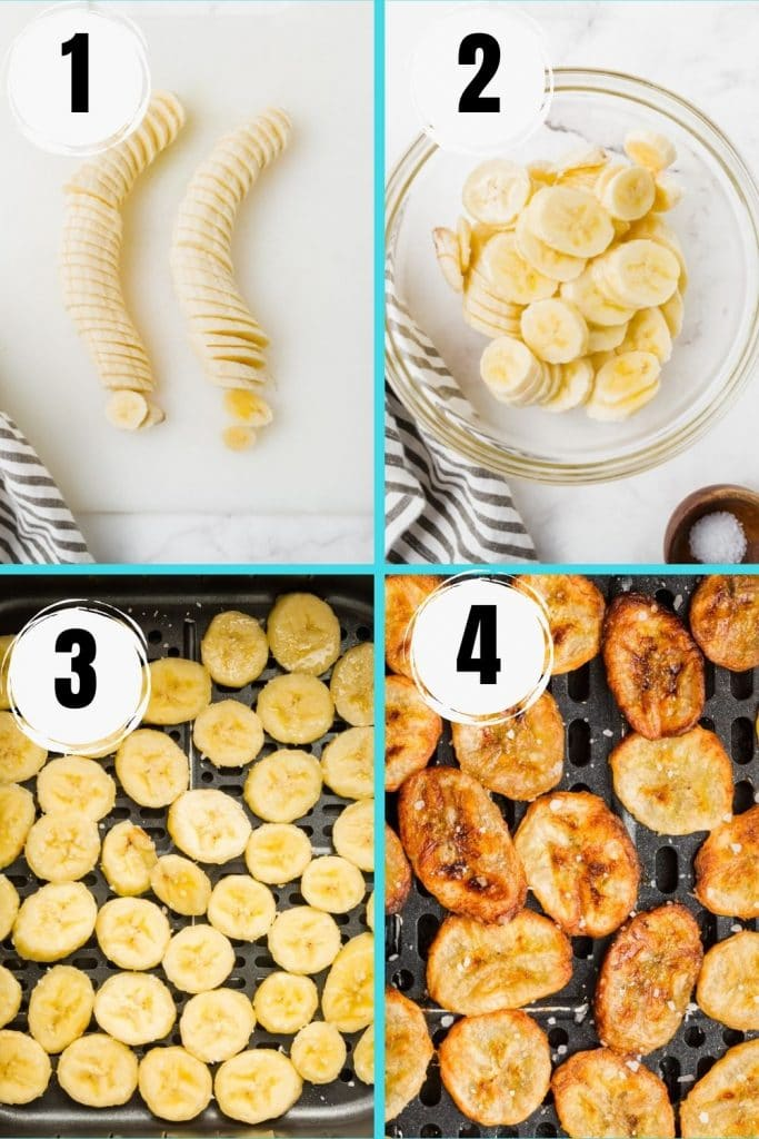 photo collage showing 4 steps needed to make air fryer banana chips
