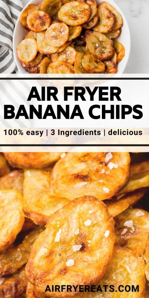air fryer banana chips with salt, with text overlay