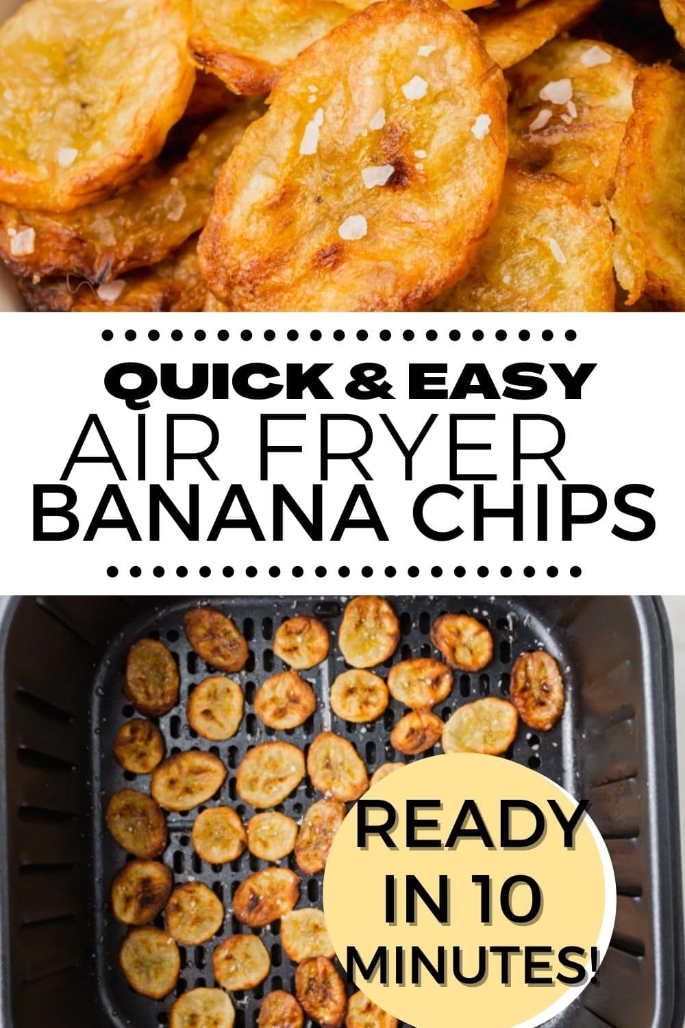 Air Fryer Chips are a healthy, sweet and salty snack that come together quickly and easily in your air fryer with just three ingredients. #airfryer#bananas via @vegetarianmamma