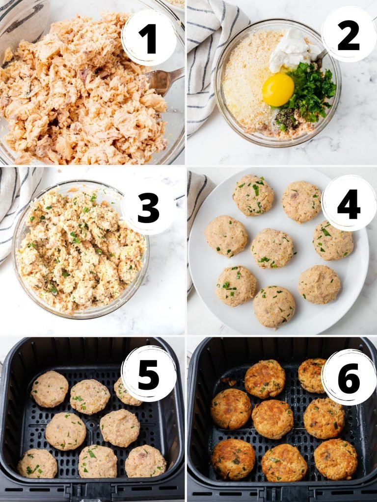 photo collage showing six steps needed to make salmon patties in air fryer