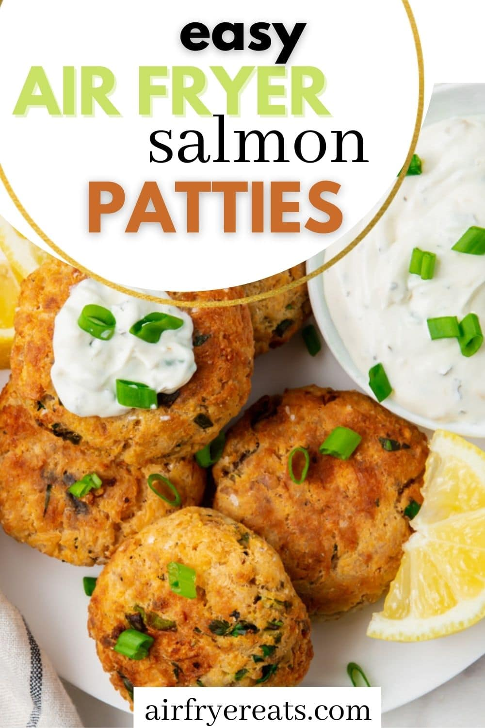 Delicious Air Fryer Salmon Patties are ready in just a few minutes! Crispy on the outside and packed with salmon and the perfect seasonings, you'll love this recipe for simple dinners or lunches. #salmonpatties via @vegetarianmamma