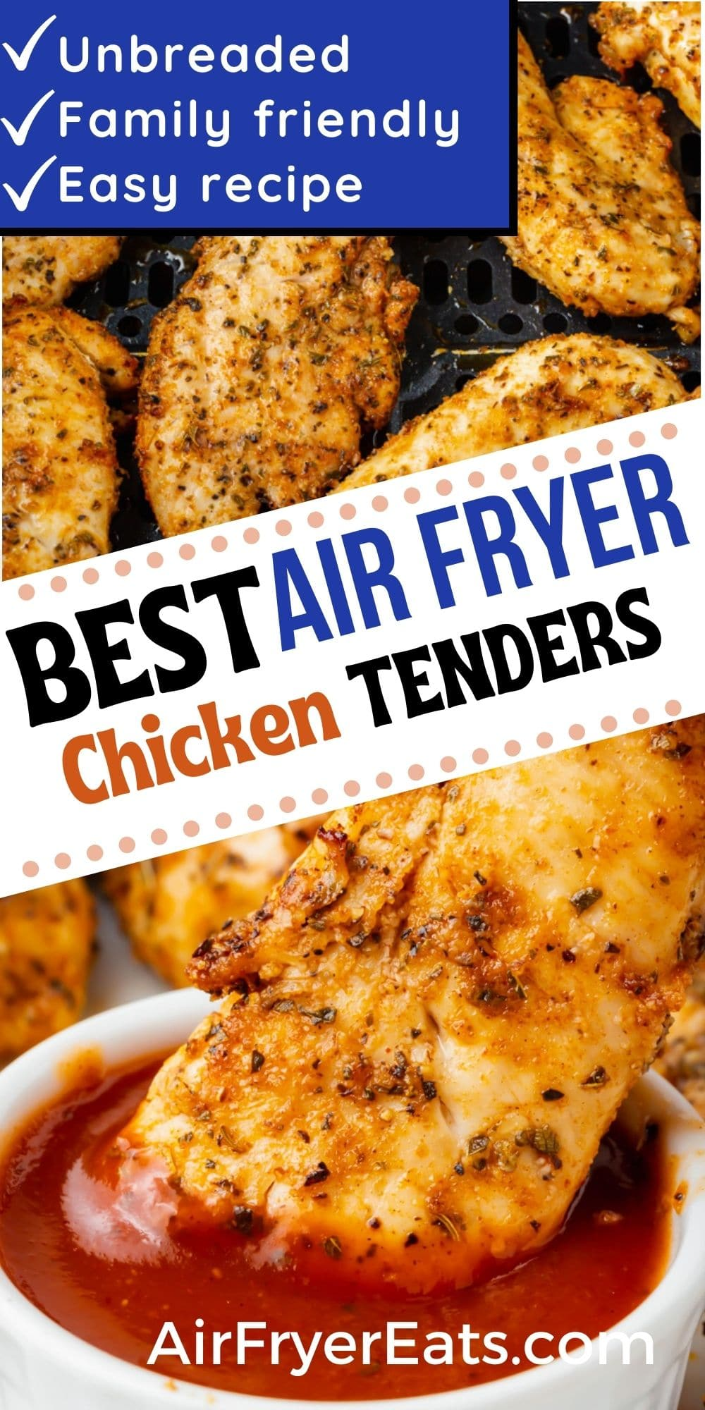 Air Fryer Chicken Tenders (Unbreaded) is the best and easiest way to cook chicken in the air fryer. These unbreaded chicken tenders in the air fryer are perfectly seasoned with herbs and spices and cook in just 10 minutes. Dinner has never been so good! #airfryer #chickentenders via @vegetarianmamma
