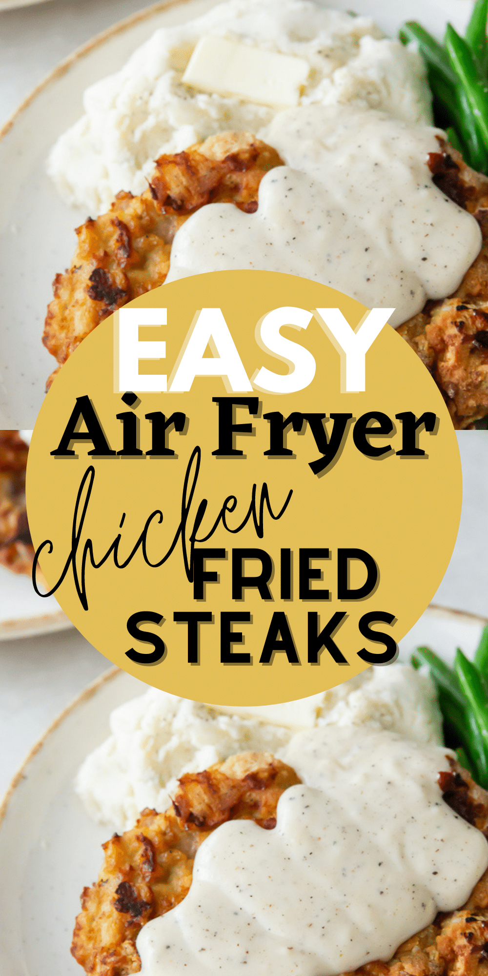 Air Fryer Chicken Fried Steak with a creamy, peppery, country gravy is a traditional Southern dinner, made healthier and with less mess using your favorite kitchen appliance. #airfryersteak #chickenfriedsteak via @vegetarianmamma