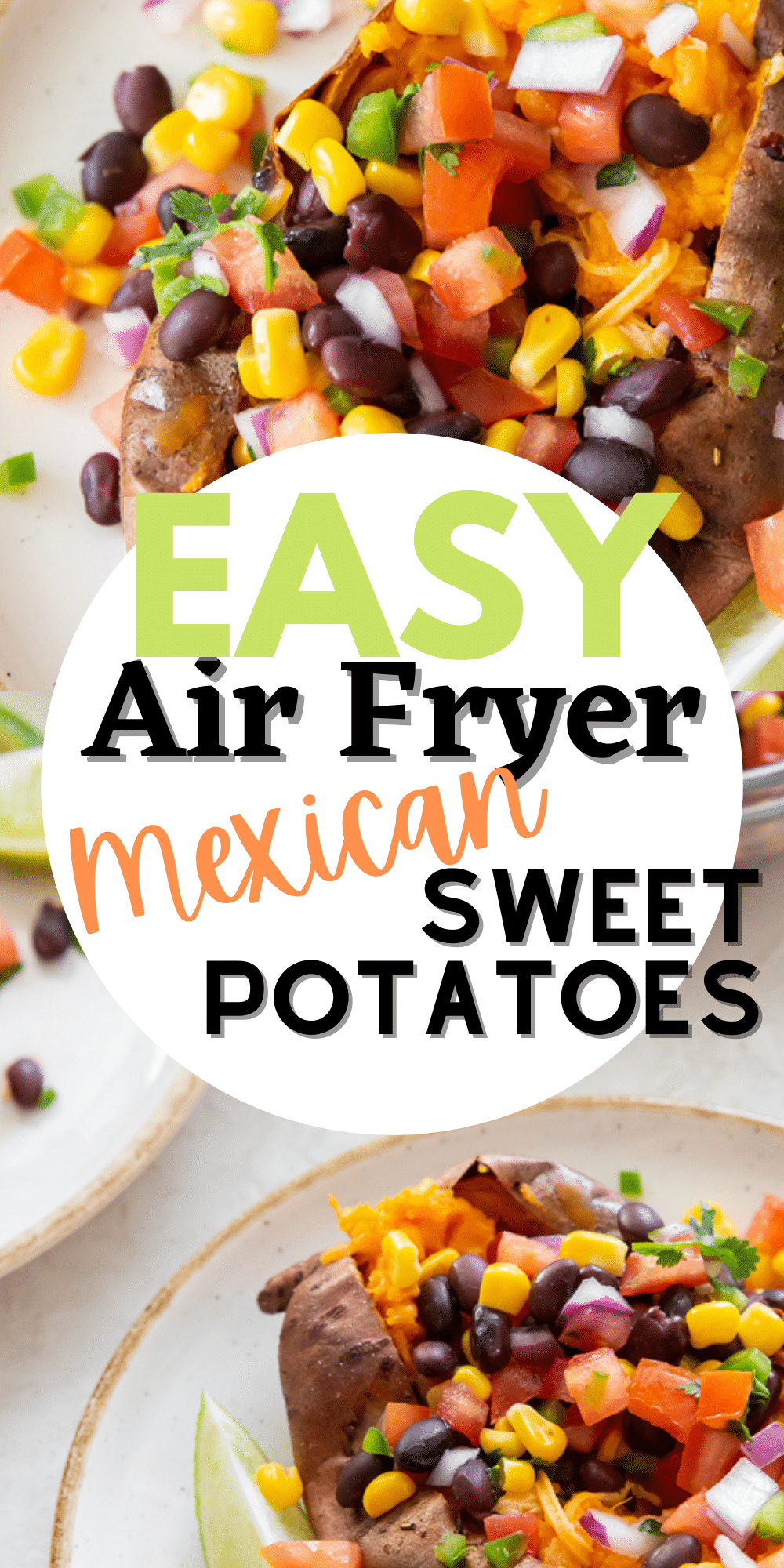 Tender, perfectly cooked Air Fryer Mexican Sweet Potatoes topped with fresh salsa are a vegan meal or side dish packed with fresh veggies and amazing flavors. This recipe is super simple, delightfully fresh, and great for meal prep too. #sweetpotatoes #freshsalsa via @vegetarianmamma