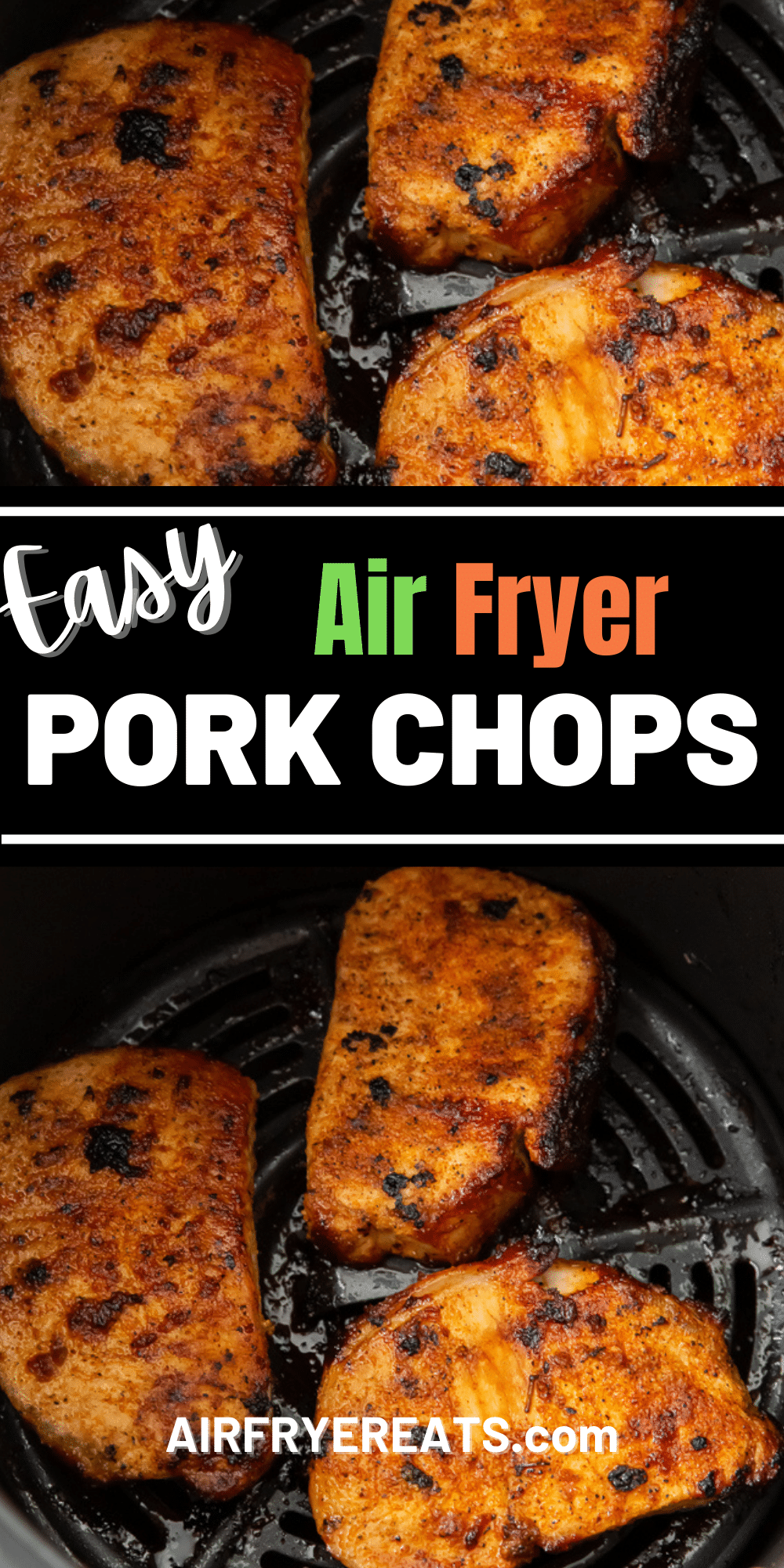 Air Fryer Pork chops - no breading needed to enjoy juicy, delicious pork chops in the air fryer! A simple seasoning blend gives these air fryer pork chops great flavor, and they're ready in less than 10 minutes. #porkchops @airfryerpork via @vegetarianmamma
