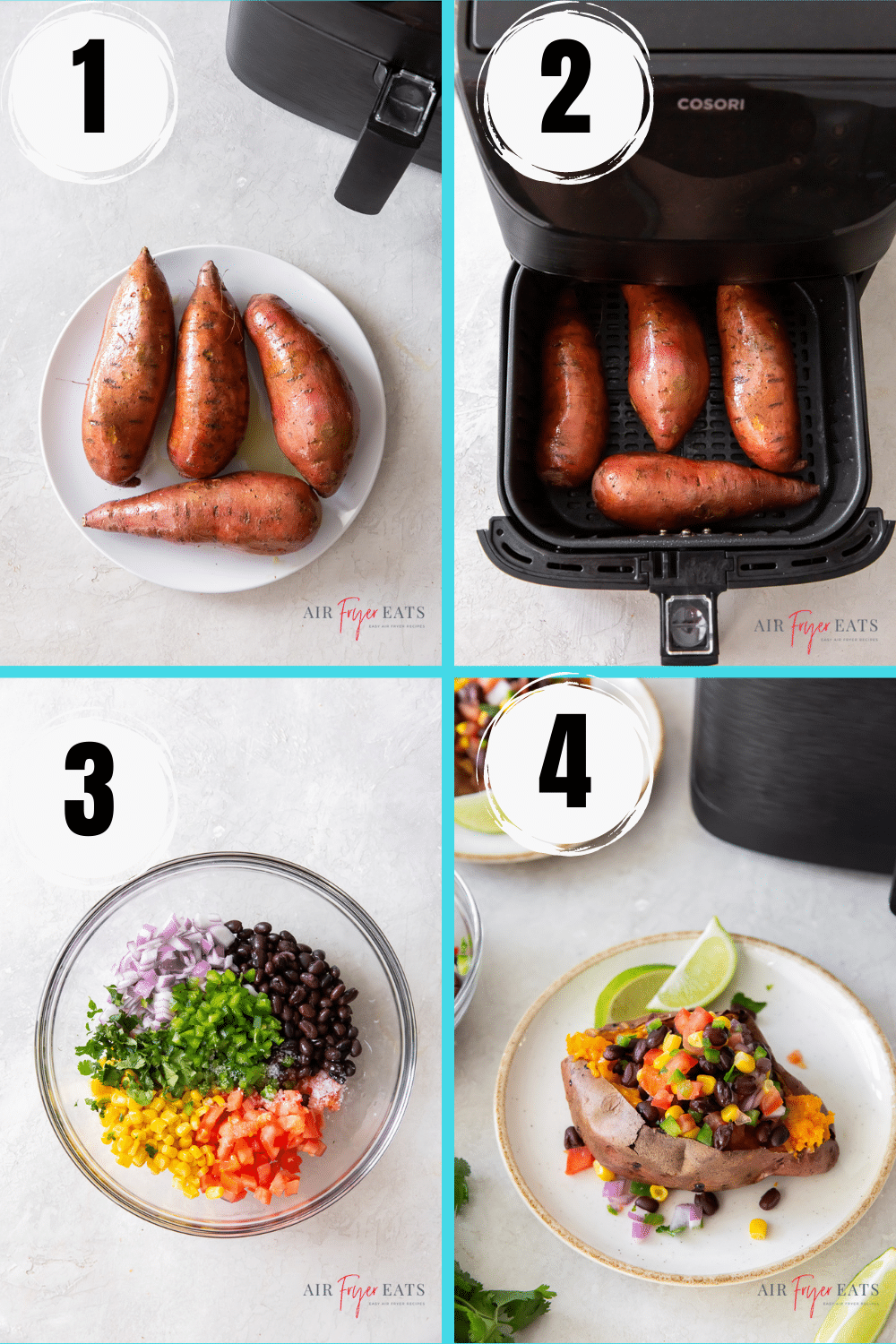 photo collage showing four steps needed to make air fryer mexican sweet potatoes