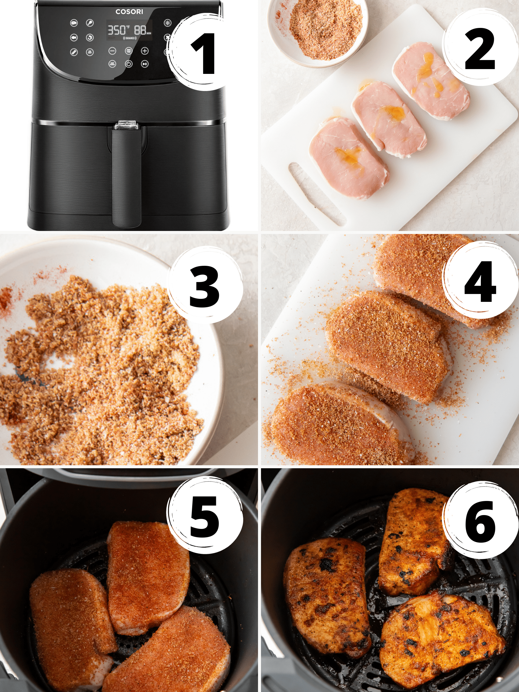 Photo collage showing six steps needed to make air fryer pork chops no breading