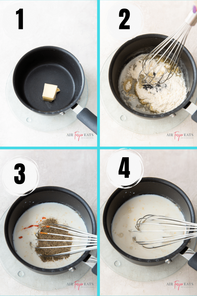 photo collage of four steps needed to make country gravy