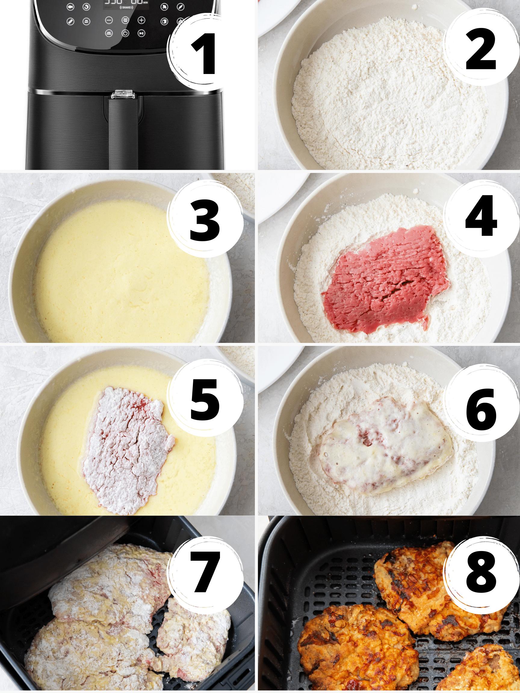 photo collage showing 8 steps needed to make air fryer chicken fried steak.