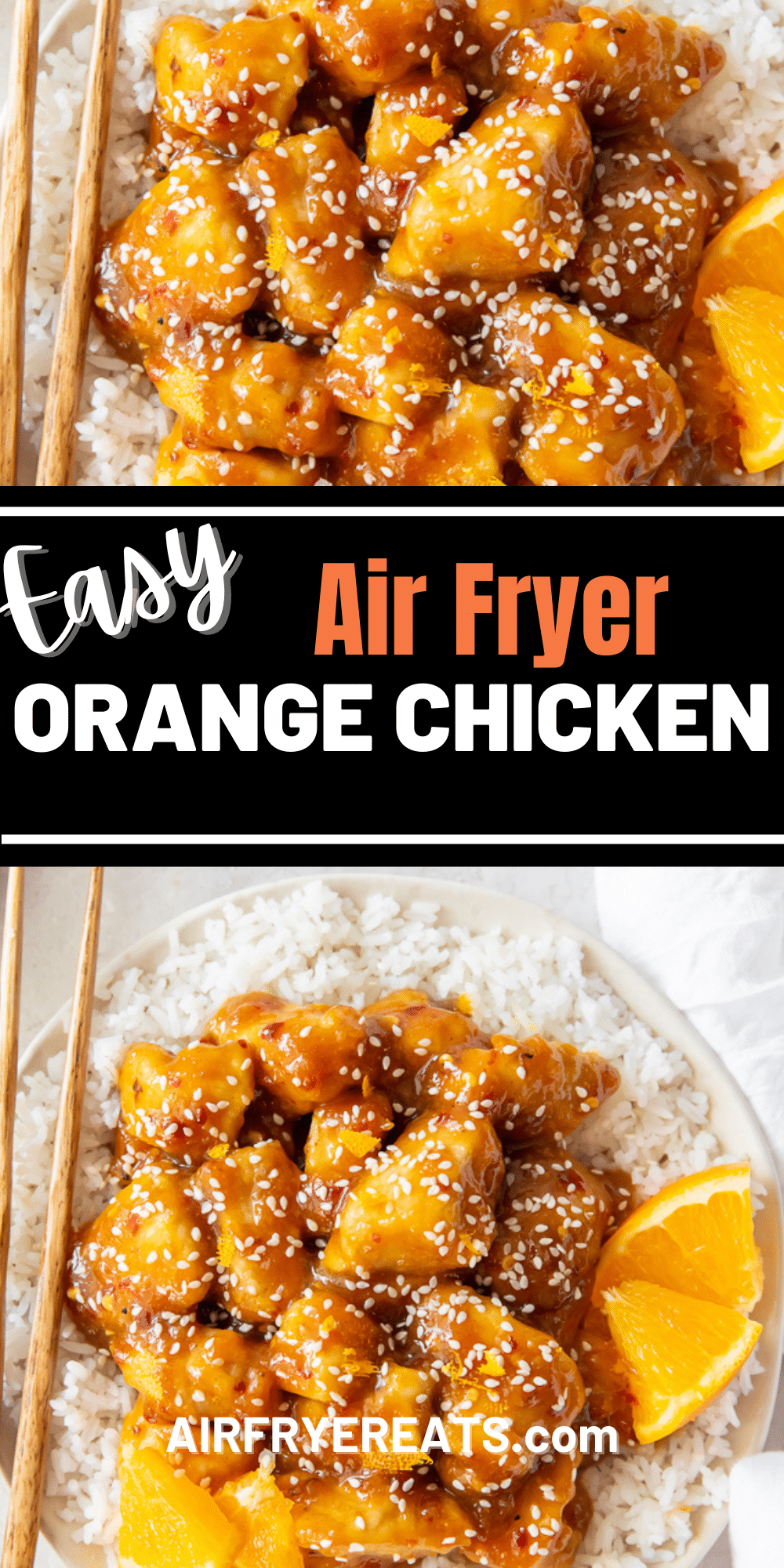 Air Fryer Orange Chicken is tangy, sweet, savory, and the ultimate Chinese take out copycat recipe. The air fryer makes cooking a delicious Orange Chicken meal easy! #orangechicken #airfryer via @vegetarianmamma