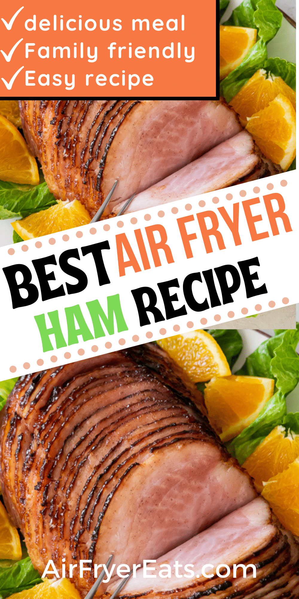 Air Fryer Ham is a time saving way to cook a ham for a holiday dinner or weekend meal. A homemade maple glaze makes this air fryer ham recipe the best you'll find. #airfryerham #holidayham via @vegetarianmamma