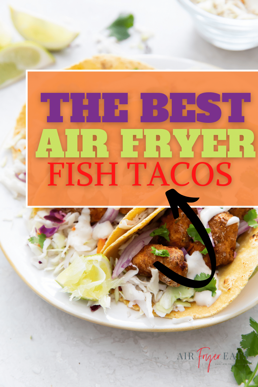 Air Fryer Fish Tacos are tender and juicy white fish with a crispy cornmeal breading. Wrapped in tortillas and topped with authentic Mexican taco toppings, including a delicious garlic lime crema sauce, these fish tacos will be the best you've ever had. #fishtacos #airfryerfish via @vegetarianmamma