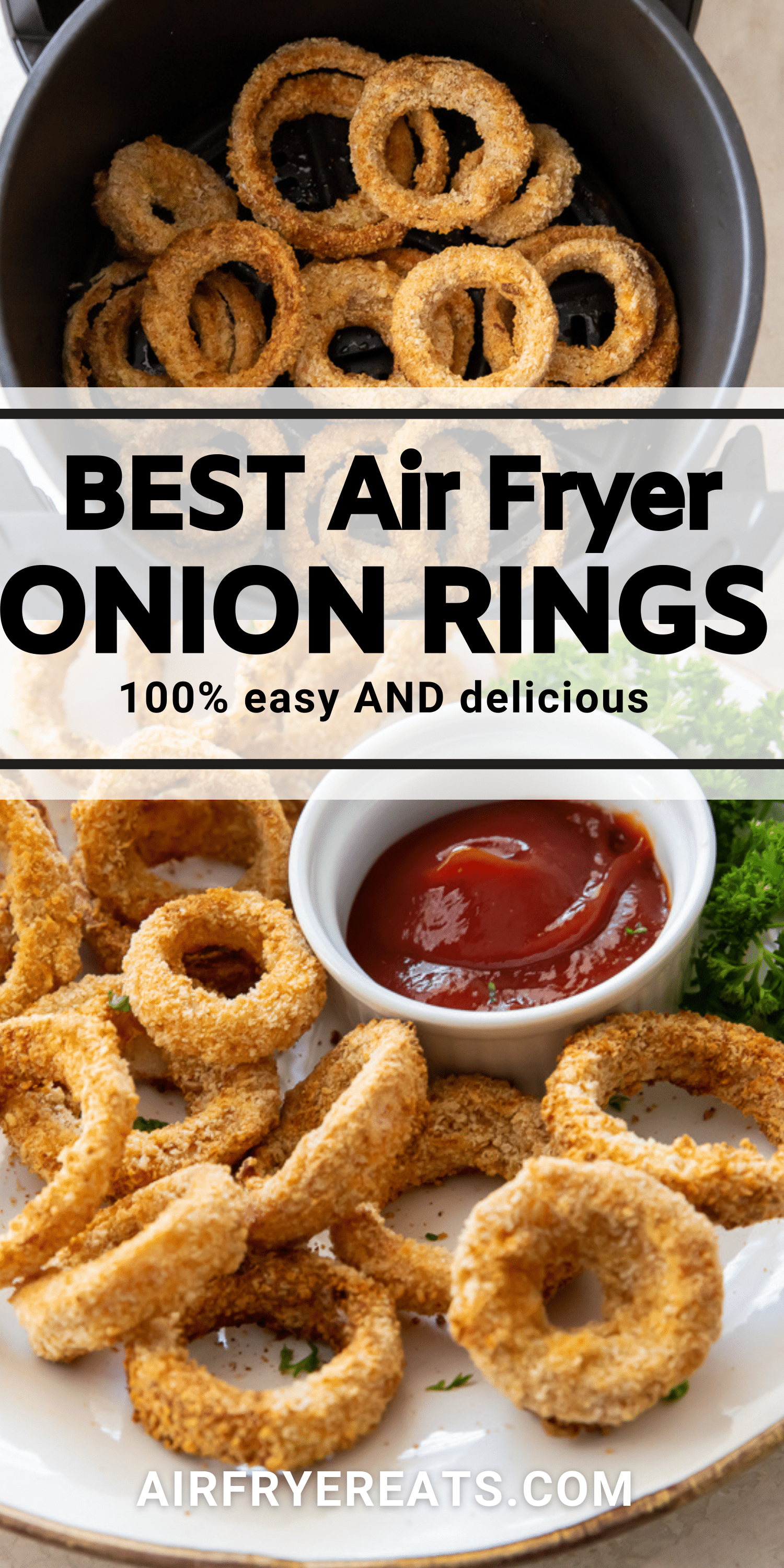 two images of air fryer onion rings, with a text overlay in the center that says Best air fryer onion rings