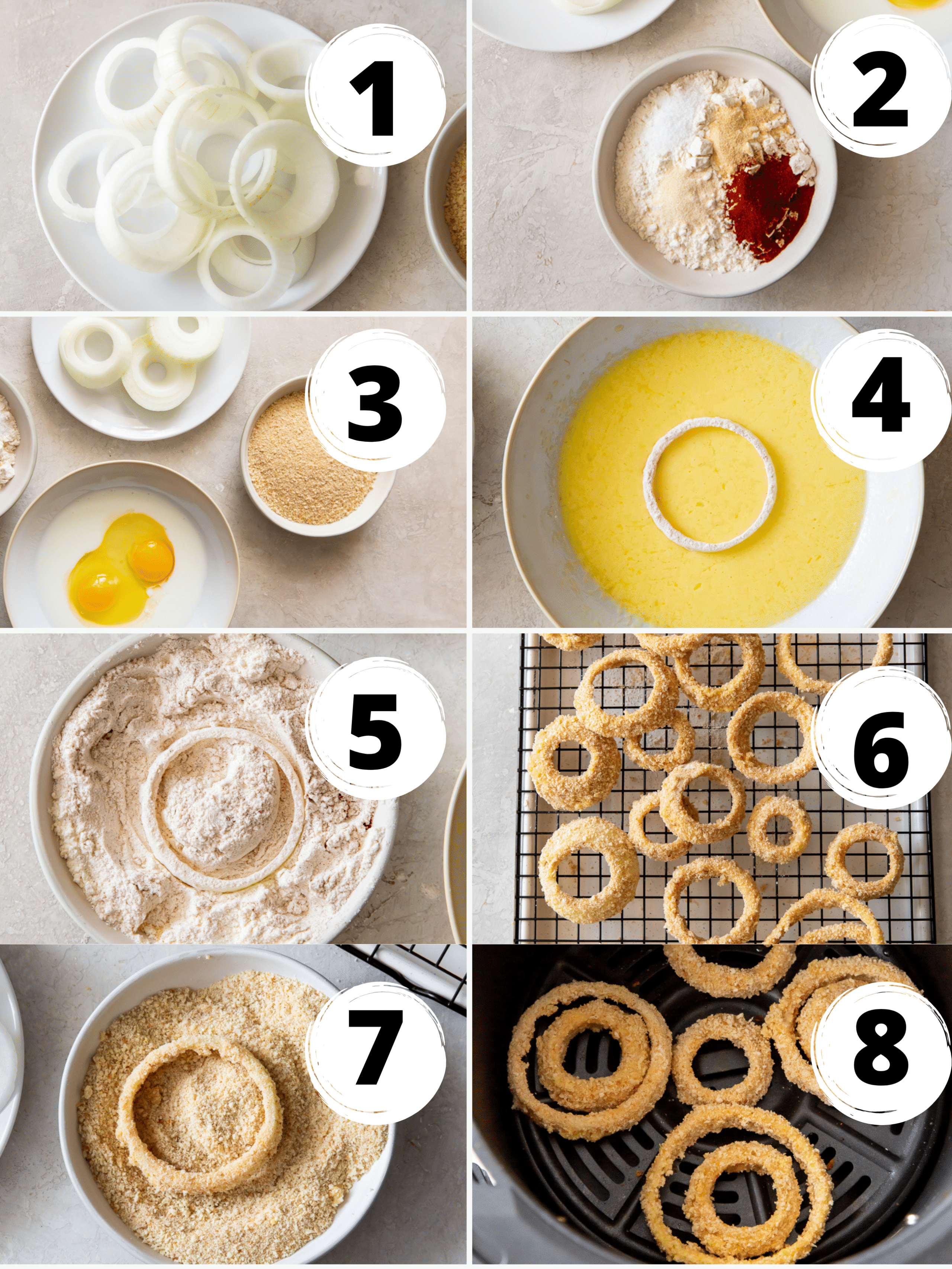 photo collage showing 8 steps to make onion rings in an air fryer