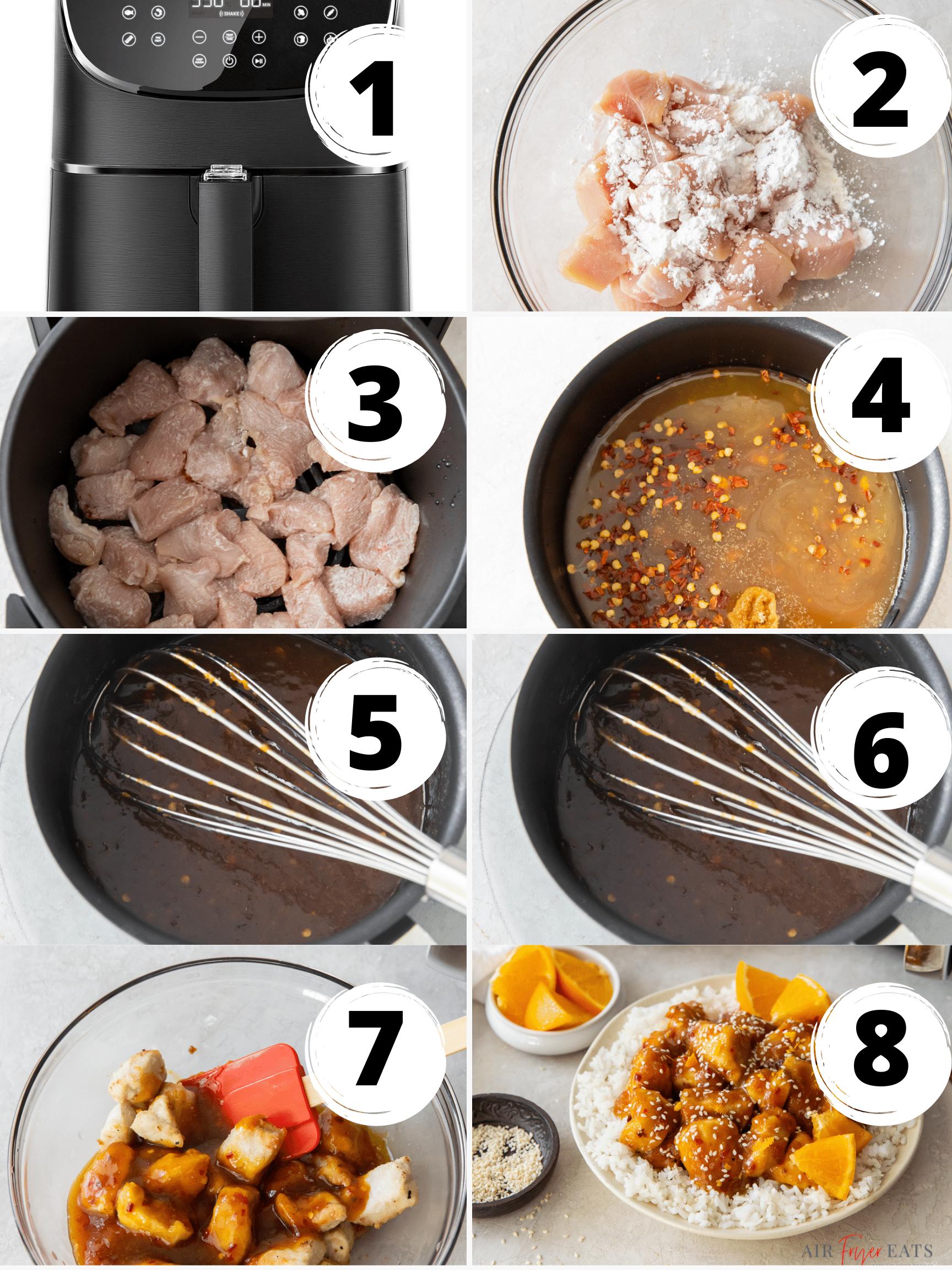 photo collage showing 8 steps needed to make air fryer orange chicken