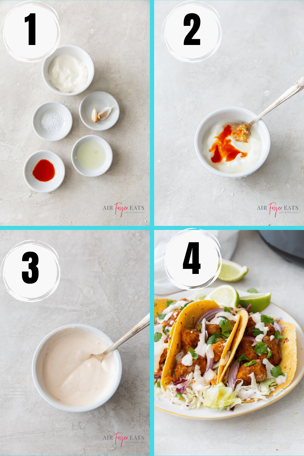 photo collage showing four steps needed to make garlic lime crema