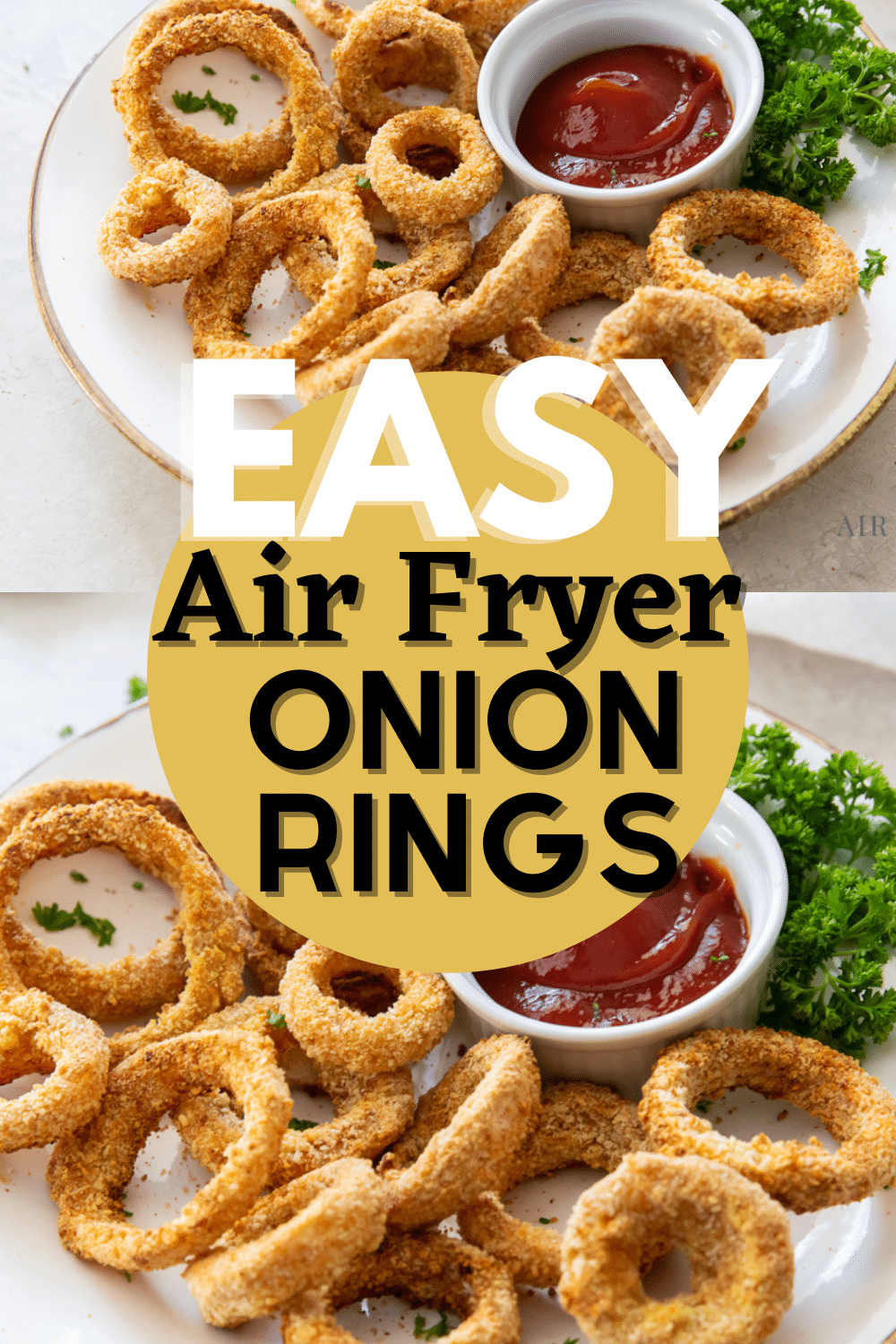 These crispy seasoned onion rings are so easy and quick to make! Enjoy healthier onion rings whenever you like with this simple Air Fryer Onion Rings recipe. #onionrings #airfryeronionrings via @vegetarianmamma