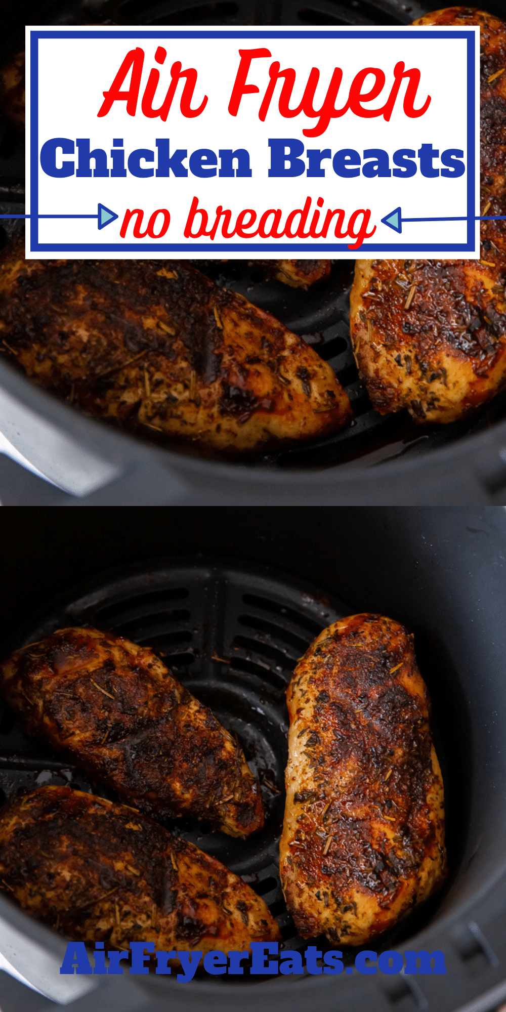 Learn how to make air fryer chicken breast that is juicy, tender, and packed full of flavor! This chicken breast in the air fryer will change the way you make dinner. #airfryerchicken via @vegetarianmamma