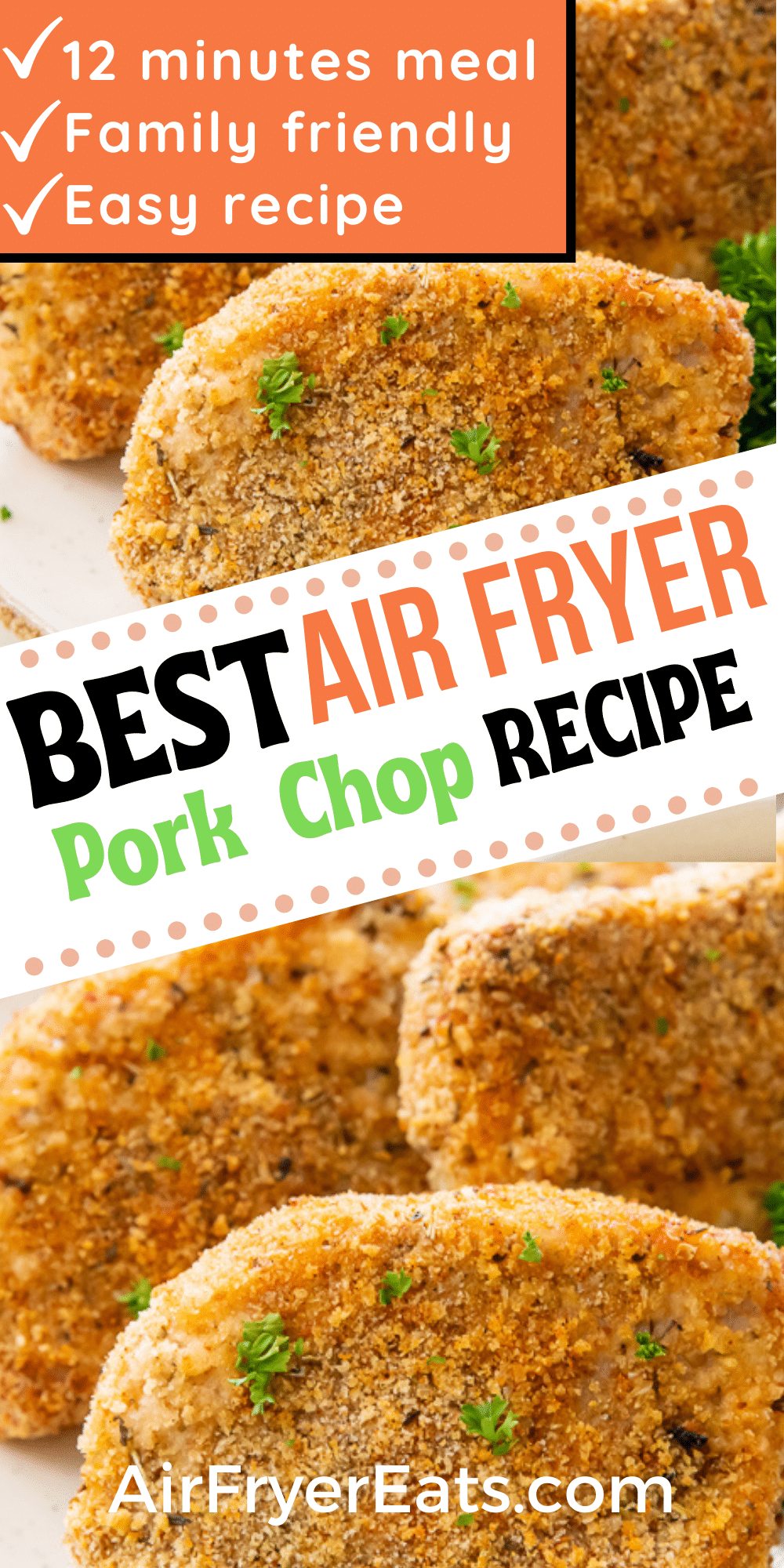 Make the perfect Air Fryer Breaded Pork Chops for dinner! These Air Fryer Pork Chops are perfectly seasoned, lightly breaded, and come out crispy and delicious in under 15 minutes. #airfryerporkchops via @vegetarianmamma